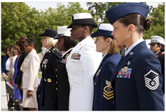 Group of women service members standing